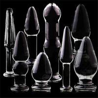 Conecte anal de cristal Big Butt Plugs Masturbación Estimulador Cristal Anus Dildo Juguetes sexuales femeninos Productos para adultos
