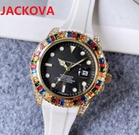 Colorful Big rainbow ring diamonds mens womens wristwatches 41mm quartz movement rubber silicone iced out watches bracelet Montre de Luxe Perfect Quality