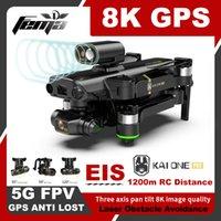 Cámara de 8K DRONE EIS Auto Estabilización KAI1 PRO 5G FPV 1.2KM Sin escobillas de 3 ejes Gimbal Dron Cámara 4K Video GPS Professional