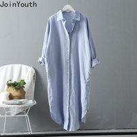 Joinyouth 2021 Урожай Топ Женщины Хлопок Льняные Длинные Блузки Рубашки Одежда Платье Блуза Летняя Мода Свободные Случайные Bluss Женские