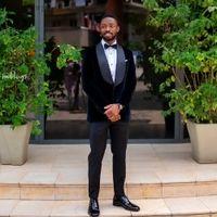 Black Wedding Suits for Men Shawl Lapel One Button Costume Mariage Homme Velvet Formal Suit Blazer Jacket Tuxedo 2 Piece Coat+Pant