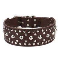 Cuello de cuero para perros para mascotas Nail Champiñones brillante y doble lienzo MQ7S