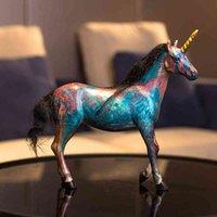 홈 액세서리 다채로운 유니콘 말 장식 입상 거실 장식 개체 사무실 수지 선물