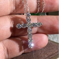 Collares colgantes cruzados de moda Belleza brillante un CZ Diamond Stone Crystal Top Calidad Collar S925 Sterling Silver
