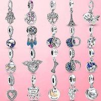 925 Sterling Silver Sparkling Family Tree Dangle Charm Beads Fit Original pandora Bracelet Pendant Necklace Jewelry