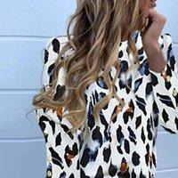 Femmes Chemises Muyogrt Elégante épaule bouffée blouse de bureau Lady Summer Metal Bouton d'ananas imprimé à manches longues