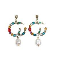 Donne vintage borchie American Indian Elements Stud Fashion classico Baroque Pearl Pendente di cristallo Strass Eardrop personalità Esagerazione Lettera orecchino