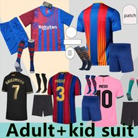 22 21 Barca Futbol Formaları Messi Barcelona 2021 Ansu Fati Griezmann Braithwaite Pedri De Jong Coutinho Futbol Gömlek Yetişkin Çocuk Takım Elbise Kids Kiti Üniforma