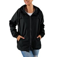 Women Solid Rain Outdoor Waterproof Hooded Raincoat Windproof Jacket Coat Sport Causal Winter Women's Jackets