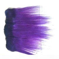Brasilianisches Jungfrau-Haar-Ohr zum Ohr zweifarbige Farbe 1b lila Ombre volle Spitze Frontal-Verschluss Seide Gerade Menschenhaar-gebleichte Knoten