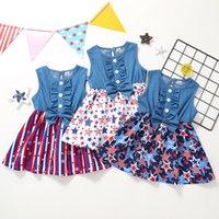 Baby Girl Dress 7月4日のスターベストデニムパッチワーク弓の子ストライプノースリーブ