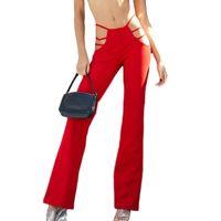 Meihuida 2021 Women Black Sexy Cut Out Holes Pants Slim Fitness Sweat Flare Hollow Trousers Streetwear Capris Pant Women's &