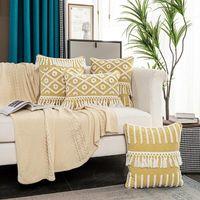 Pillow Case Boho Decorative Throw Cover Cotton Woven Tufted Cushion Farmhouse Pillowcase For Couch Bedroom Office Car