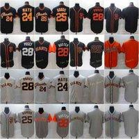 남자 28 Posey Baseball Jerseys 24 Willie Mays 25 Barry Bonds 빈 스티치 FlexBase 쿨베이스 팀 화이트 블랙 베이지