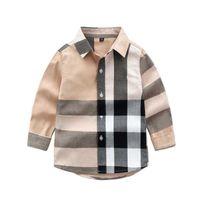 Детские рубашки, детская детская одежда, клетчатая клетчатка для мужчин, весенних и осенью с длинными рукавами рубашки