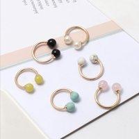 Moda ouro cor redonda pedra natural branco azul turquesa anéis de cristal de cristal cor-de-rosa iclite para mulheres jóias