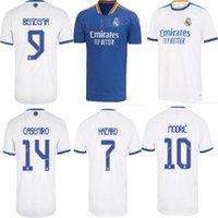 Real Madrid Jerseys 21 22 Benzema Soccer Jersey Hazard Modric Asensio Casemiro Vinicius Jr. Camisa de futebol Mens e crianças conjuntos uniformes calções meias