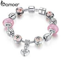 Bracelet de charme plaqué argent avec coeur Pendentif Cherry Blossom Rose Murano Glass Perles d'amitié PA1459 Bracelets
