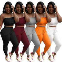 Sexy women tracksuits Pleated Tube Top Sports Leisure Suit for Womens Ruched Strapless Crop Top and Elastic Waist Skinny Long Pant Two Piece Outfit S-XXL