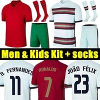 Portugal 2020 camisetas de futebol RONALDO JOAO FELIX NEVES BERNARDO CANCELO RUBEN NEVES 2021 time nacional camisa de futebol 20 21 Mas Mulheres Kit infantil uniforme