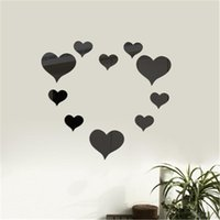 Wall Stickers 00# 10pc 3d Mirror Love Hearts Sticker Decal Diy Living Room Modern Style Home Art Mural Decor Removable