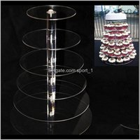 Bakeware Kitchen Dining Bar Home Giardino Drop Consegna Drop 2021 6 Tier Acrilico Stand Round Stand For Wedding Party Cake Display Decorazione Cupcak