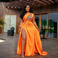 Arabic Aso Ebi Orange Beaded Crystals Evening Dresses High Split Prom Gowns One Shoulder Formal Party Reception Wear