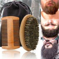 Professional Soft Boar Bristle Wood Beard Brush Hairdresser Shaving Men Mustache Comb Kit With Gift Bag Hair Set