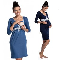 Casual Dresses Fashion Lace Stitching Deep V-neck Nursing Dress Maternity Pajamas Care Clothing