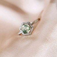 Gzxsjg natural musgo agate pedras preciosas anel para mulheres sólidas 925 esterlina de prata de casamento noivado noiva de noiva original jóias finas