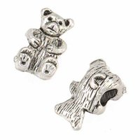 Loose Beads Fit European Bangles Necklaces Pendants Woman Man Retro Silver Toy Teddy Bear 3D Alloy Jewelry Findings 13*8*8mm 200pcs