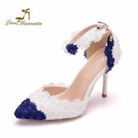 Dress Shoes 2021 Beautiful Blue And White Lace Flower Womans Wedding Pointed Toe Stilletto Heel Ankle Straps Mother Of The Bride