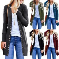 Women's Jackets Women Spring Autumn Button Knitted Cardigan Ladies V-Neck Casual Long Sleeves Outwear Overcoat