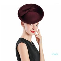 Fascinator Hat Royal Red Weddings Wool With Bow Crimping Hats Women Fedoras Party Party Prom Hat1