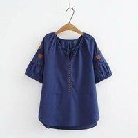 Besticktes hemd frauen sommer tops floral blau dünne baumwolle leinen bluse marke qualität plus größe lässig bogen halbe hülse frauen blusen sh