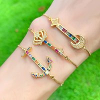 Anchor Key Guitar Cubic Zircon Gold Bracelet Rainbow Crystal Crown Adjustable Colorful Bracelets For Women Boho Jewelry Brt-b60 Link, Chain