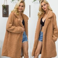 Faux Fur Lamb Wool Long Shaggy Cardigan Lapel Collar Warm Fluffy Jacket Teddy Bear Coat Plus Size Trench Winter Coat DFF1861