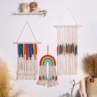 Rainbow Macrame Wall Hanging Boho Tassel Christma Room Decor Kawaii Baby Kids Nursery Bedroom Home Decoration Gift 210609
