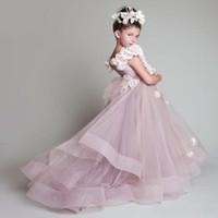 Girl's Dresses Flower Girl Vintage Children For Weddings Tiered Kid First Communion Floor Length Little Pageant Gowns