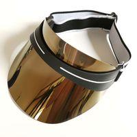 D Markalar Tasarımcı Visor Yaz Moda erkek ve kadın Güneşleri Şapka Son Tasarım Dazzle Renk Şeffaf PVC Güneş Şapka, Yüksek Kaliteli Kap