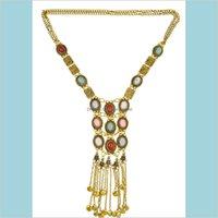 سلاسل البطن مجوهرات الجسم 2 ألوان المثالي المرأة سير مطلية بالذهب سلسلة الفيروز حبة طويل شرابة قلادة قلادة قطرة التسليم 2021