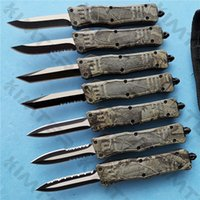Woodland Camo Small 616 Double Action Out The Front Automatic Knife 440C Blade EDC Tactical 7'' A161 Auto Pocket Camping Survival Gear Knives Christmas gifts Cncostco