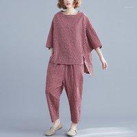 Johnature 2020 Sommer 2 Stück Set Frauen Einfache Komfortable Lose Baumwolle Und Leinen Plaid Oansatz Tops Elastische Taille Hose Frauen Set1