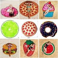 Estate casa tessile frutta spiaggia asciugamano pizza burger teschio gelato alla fragola rotonda bagno cuscino pavimento tappetino da pavimento scialle