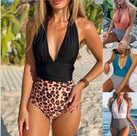mujer sexy traje de baño un solo pie remiendo sin respaldo plisado mujer bikini leopardo estampado patrón traje de baño verano playa ropa wmq852