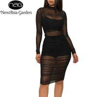 Newasia Bahçe Örgü Elbise Kadın O-Boyun Uzun Kollu Kalem Elbise Perspektif Siyah Katı Renk Bayanlar Elbiseler Artı Boyutu Clubwear 210414