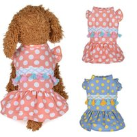 Cotton Pet Clothes Cute Dot Pattern Dress T-shirts Lovers Suit Small Medium Cat Dog Supplies Skirts Apparel