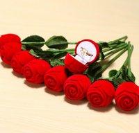 Cadeaux Boîtes de mariage Rose Bague en forme de boîte Mini Cas de transport rouges mignons pour Anneaux d'affichage Emballage de bijoux