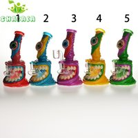 6.5 Inch Colored Glass Water Pipe Hookahs with 4mm Quartz Banger 14mm Fmale for Smoking Bongs Dab Rigs Conveient& Popular To Use 1441