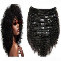 Clipe afro-americano em extensões de cabelo humano 4a 4b 4c afro kinky clipe encaracolado em extensões de cabelo para mulher negra